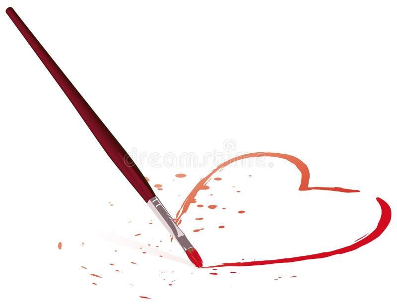 Borstel en hart stock illustratie