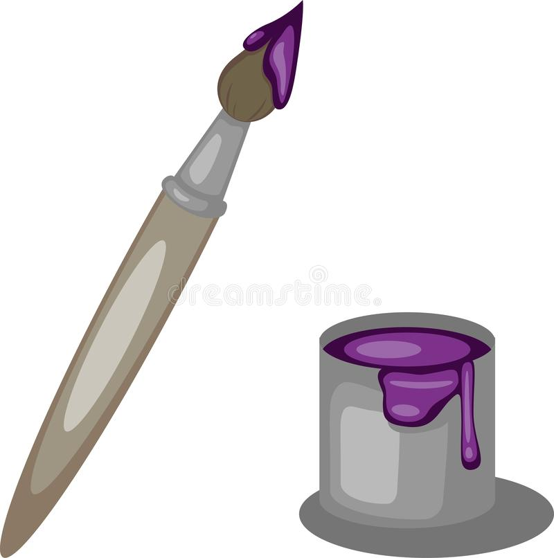 Borstel en kleurrijke Verf heldere purpere kleur vector illustratie