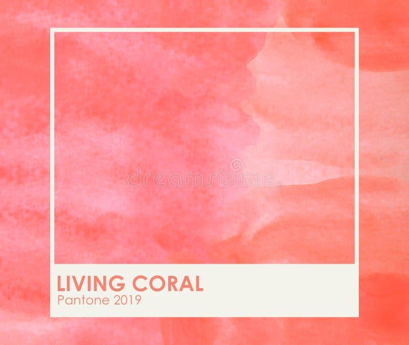 Borstel en verftextuur op document het leven koraal Kleur van het jaar 2019 livingcoral - Beeld royalty-vrije stock fotografie
