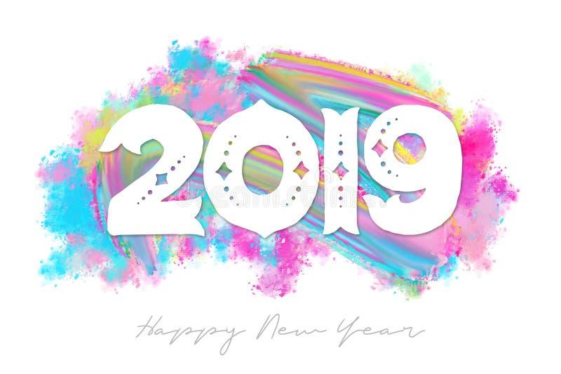 In Borstel Geweven Gelukkig Nieuwjaar 2019 stock illustratie