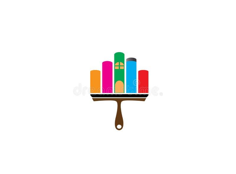 Borstel het schilderen huis of huis met multicolors voor embleemontwerp stock illustratie