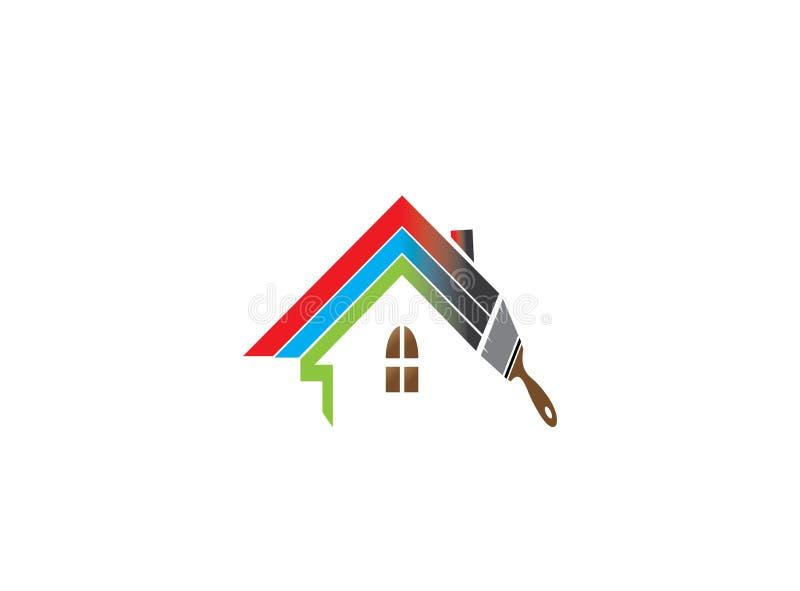 Borstel het schilderen huisdak of huis met multicolors voor embleemontwerp royalty-vrije illustratie