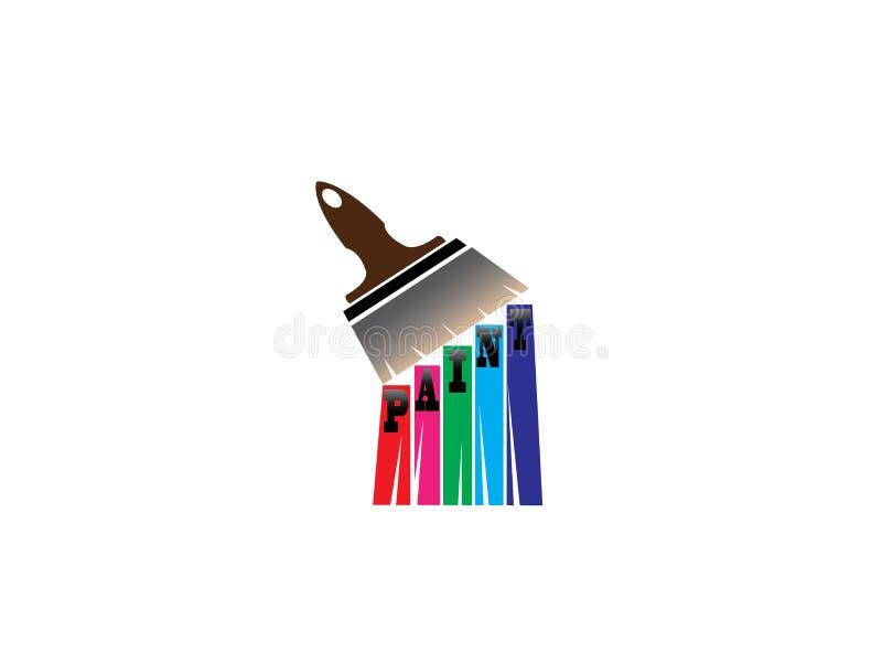 Borstel het schilderen met multicolors voor embleemontwerp royalty-vrije illustratie