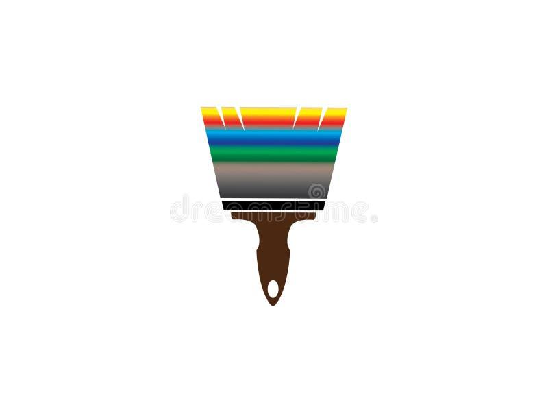 Borstel het schilderen met multicolors voor embleemontwerp stock illustratie