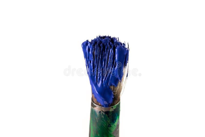 Borstel met blauwe verf stock afbeelding