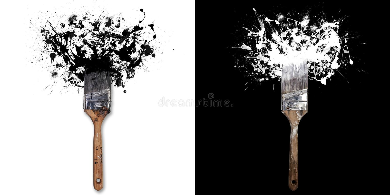 Borstel met plonsen van witte/zwarte inkt Op witte/zwarte achtergrond royalty-vrije stock afbeelding
