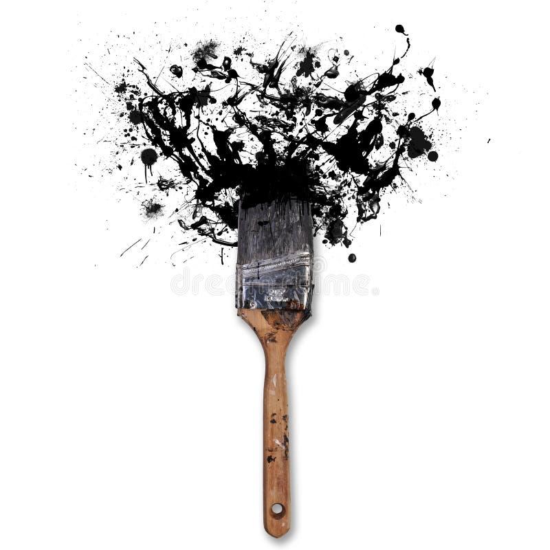 Borstel met plonsen van zwarte inkt Op witte achtergrond royalty-vrije stock afbeelding