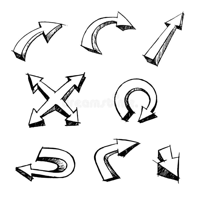 Borstelde de pijlen Vector Vastgestelde Hand 3d Stijl vector illustratie