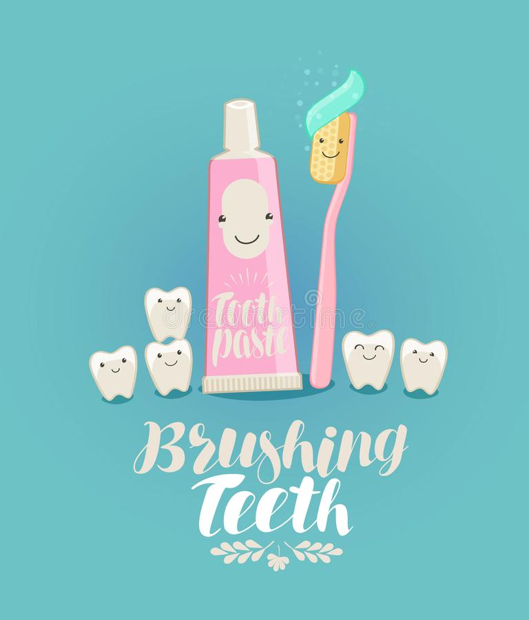 Borstelende tanden, banner Tand, tandpasta, tandenborstel, tandheelkunde, tandkliniekconcept De vectorillustratie van het beeldve stock illustratie