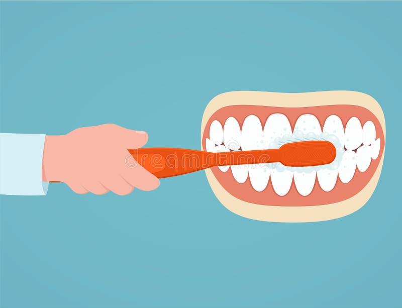 Borstelende Tanden Mens met in hand tandenborstel borstelend haar tanden vector illustratie