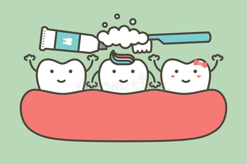 Borstelende tanden, tandjongen en meisje die hen schoonmaken vriend vector illustratie