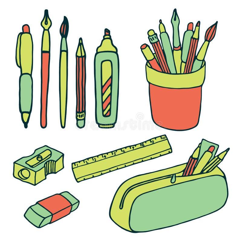 Borstels, potloden, pennen, heerser, slijper en gompictogrammen royalty-vrije illustratie