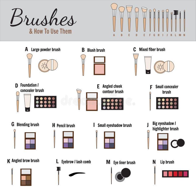 Borstels voor make-up - vectorillustratie royalty-vrije stock foto's
