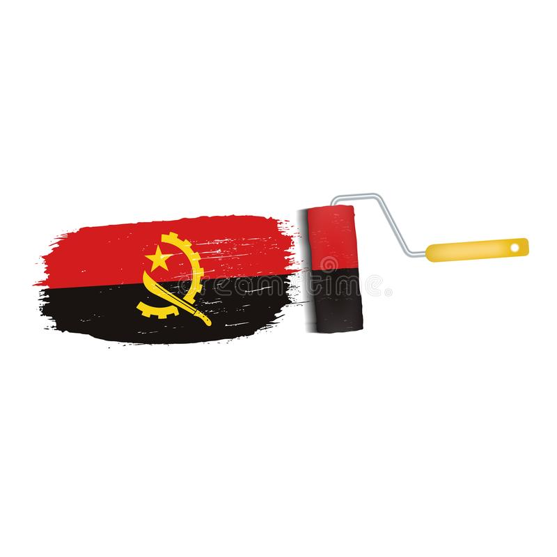 Borstelslag met de Nationale die Vlag van Angola op een Witte Achtergrond wordt geïsoleerd Vector illustratie royalty-vrije illustratie