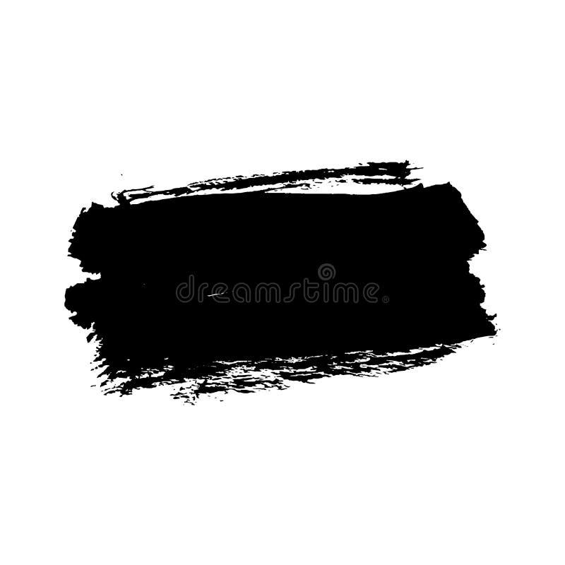 Borstelslag op witte achtergrond wordt ge?soleerd die Zwarte Verfborstel De slaglijn van de Grungetextuur Het vuile ontwerp van d vector illustratie