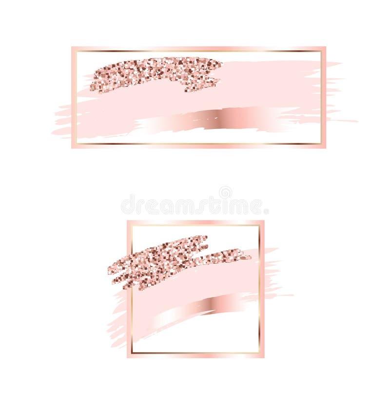 Borstelslagen in zachte roze tonen Zachte pastelkleuren Nam gouden kader toe Abstracte vectorachtergrond Glanzende gouden bliksem royalty-vrije illustratie