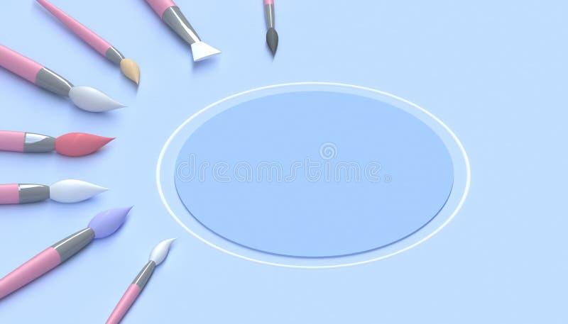 Borstelt de penseel artistieke Make-up hulpmiddelenclose-up op Mooi kunstwerk in van de kunststudio en Cirkel het minimale blauw  vector illustratie