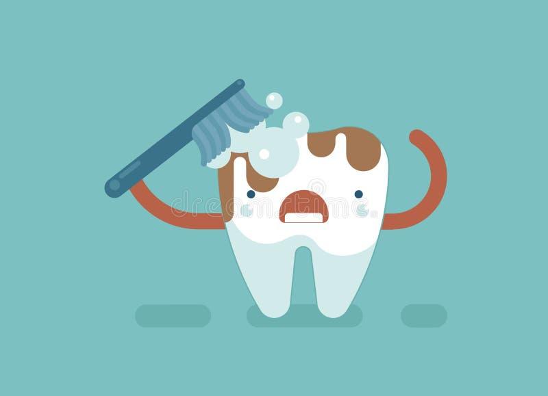 Borsteltand voor schoon, tandconcept vector illustratie