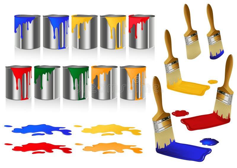 borstemålarfärg vektor illustrationer