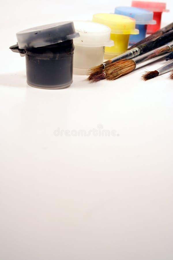 borstemålarfärger royaltyfri foto