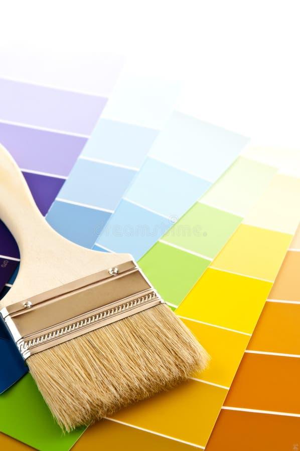 borsten cards färgmålarfärg arkivfoton