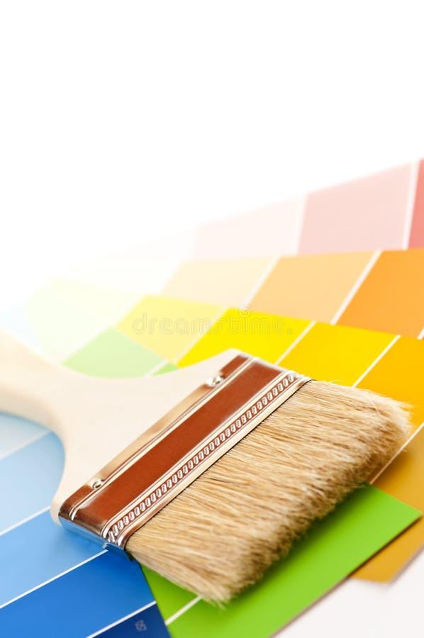 borsten cards färgmålarfärg fotografering för bildbyråer