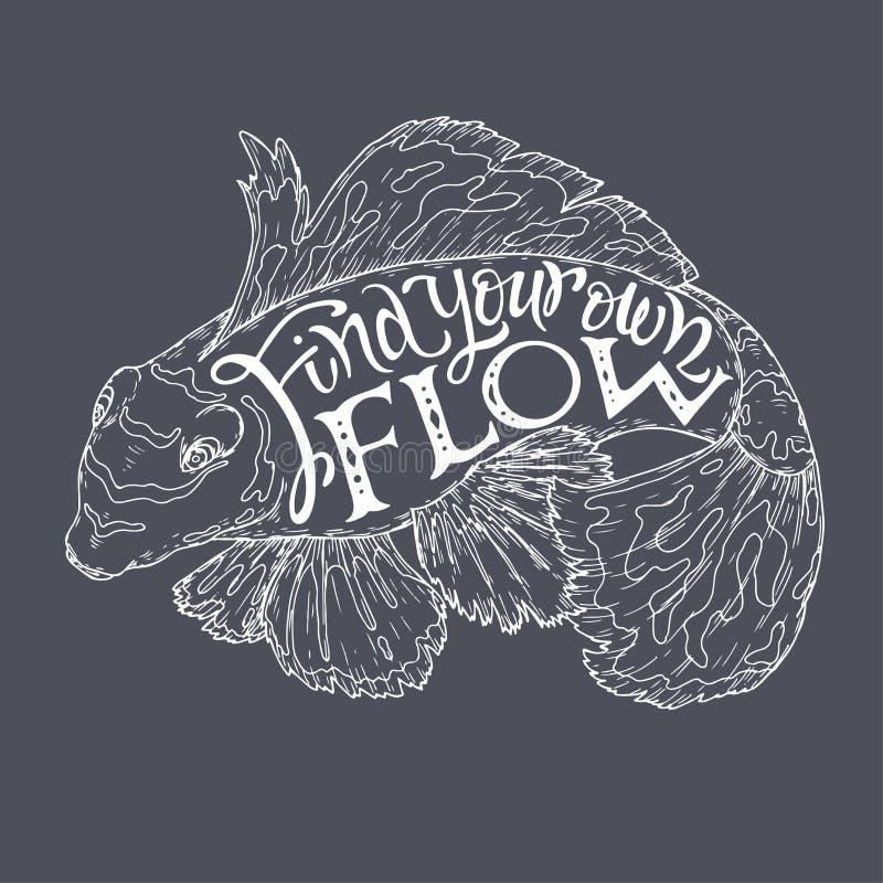 Borsten som märker inspirationcitationstecken med den tropiska fisken skissar översikten som säger fynd ditt eget flöde stock illustrationer