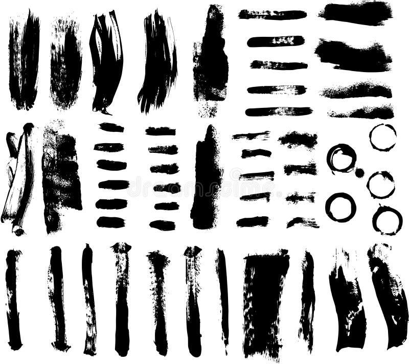 borsteseten strokes vektorn royaltyfri illustrationer