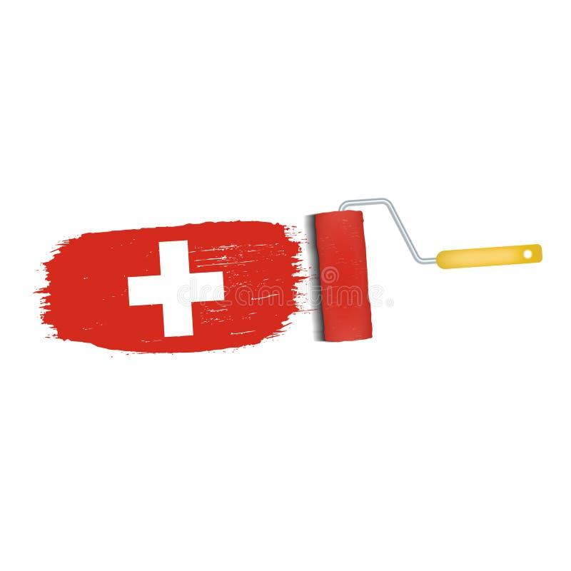 Borsteslaglängd med den Schweiz nationsflaggan som isoleras på en vit bakgrund också vektor för coreldrawillustration stock illustrationer