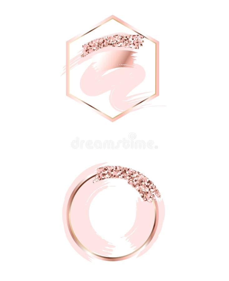Borsteslaglängder i försiktiga rosa signaler Försiktiga pastellfärgade färger Rosa guld- ramcirkel och sexhörnig ram abstrakt bak royaltyfri illustrationer