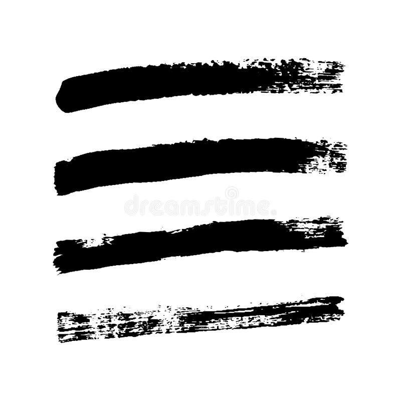 Borsteslaglängder uppsättning, isolerad vit bakgrund Svart m?larf?rgborste Linje för Grungetexturslaglängd Smutsig design för kon stock illustrationer