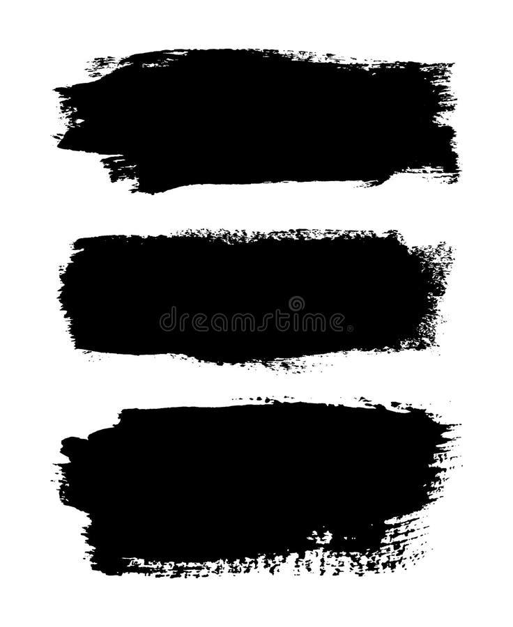 Borsteslagl?ngder upps?ttning, isolerad vit bakgrund Svart m?larf?rgborste Linje f?r Grungetexturslagl?ngd Smutsig design f?r kon stock illustrationer