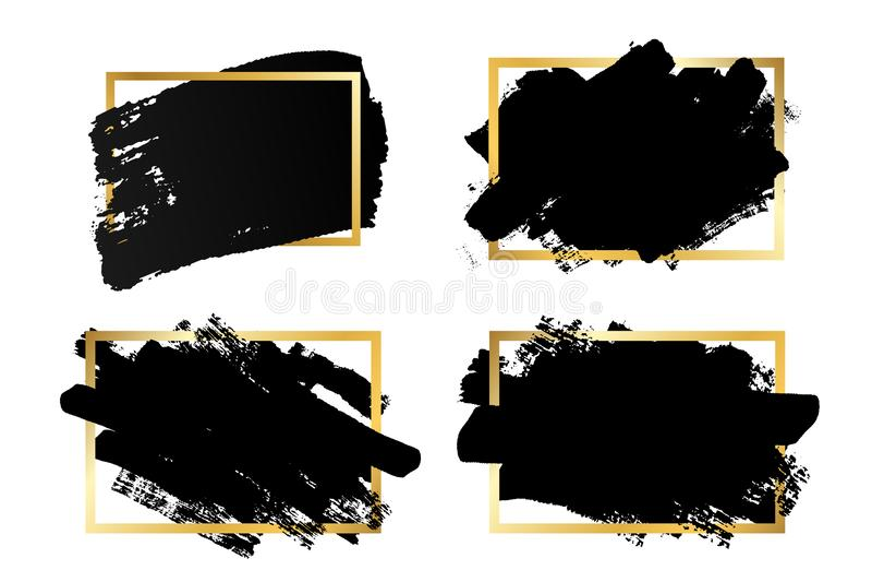Borsteslagl?ngdupps?ttning, guld- textask, isolerad vit bakgrund Svart m?larf?rgborste r F?rgpulverdesign royaltyfri illustrationer