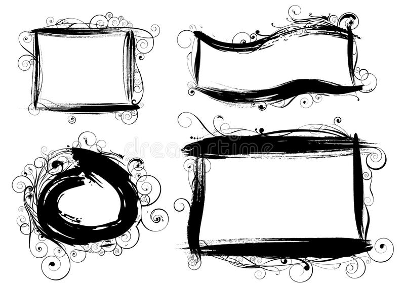Borstlik ram för Grunge royaltyfri illustrationer