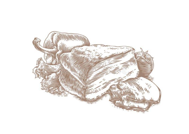 Borststuk met groenten royalty-vrije illustratie