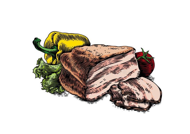 Borststuk met groenten stock illustratie