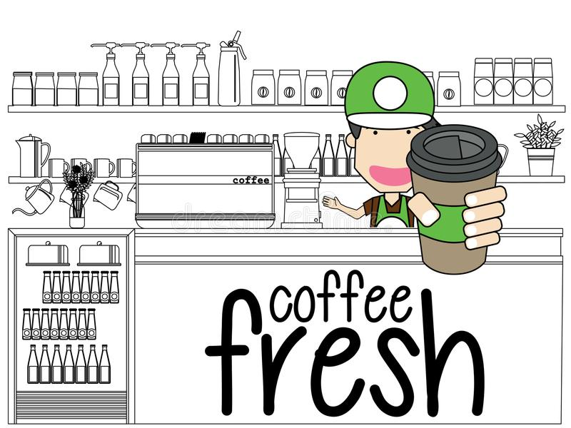 Bort kaffe för tagande vid coffee shop stock illustrationer