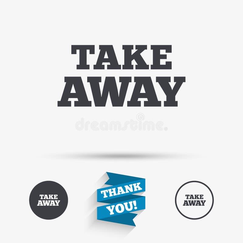Bort teckensymbol för tagande Takeaway mat eller drink stock illustrationer