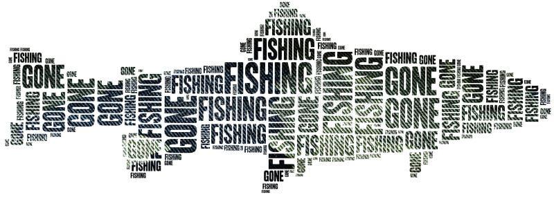 Borta fiske Collage för etikettsmolnbegrepp royaltyfri illustrationer
