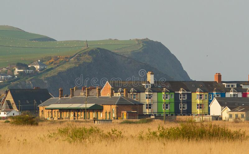 Borth station with headland in the background royalty free stock photos