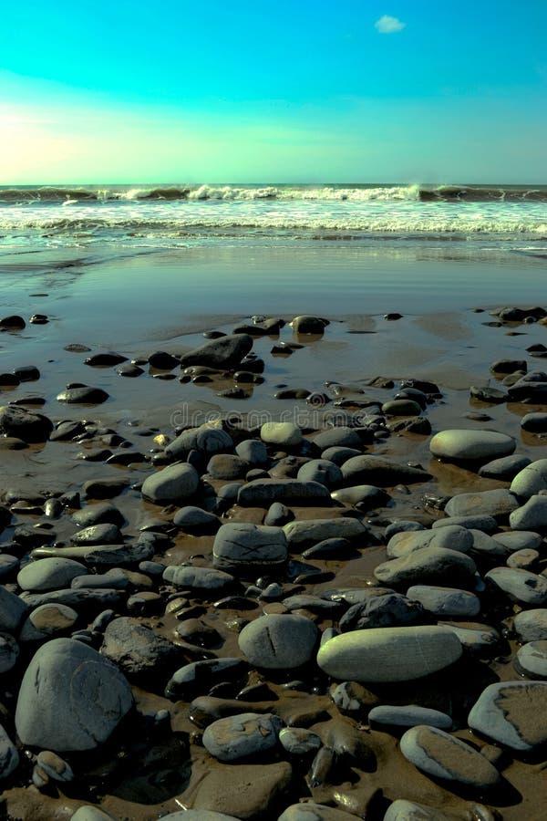 Borths Beach. Beach at Borth, England. Pebble beach with the tide out stock photos