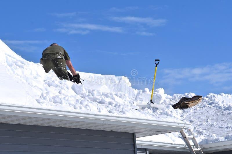 Borttagning av snö från ett hustak royaltyfri fotografi