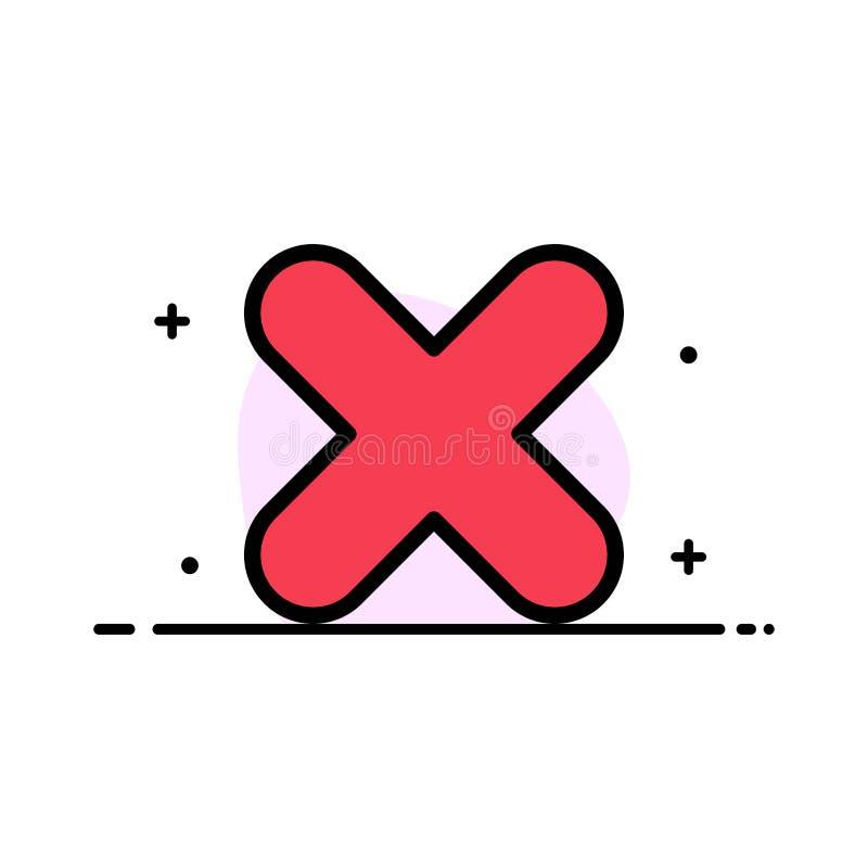 Borttagnings annullering, plan linje fylld mall för nära arg affär för symbolsvektorbaner vektor illustrationer