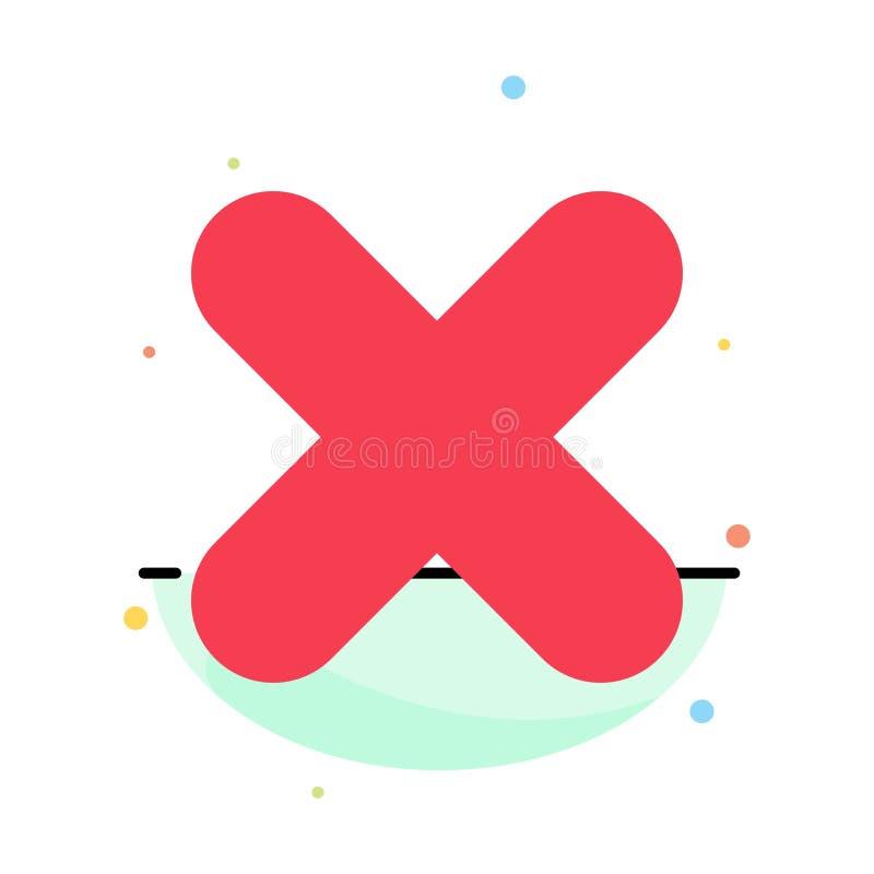 Borttagnings annullering, slut, arg abstrakt plan färgsymbolsmall vektor illustrationer