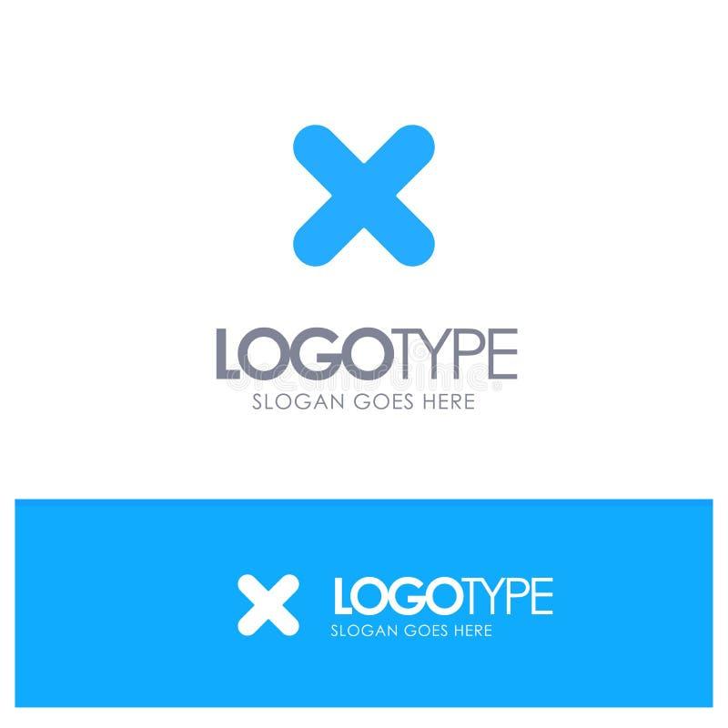 Borttagnings annullering, slut, arg blå fast logo med stället för tagline stock illustrationer