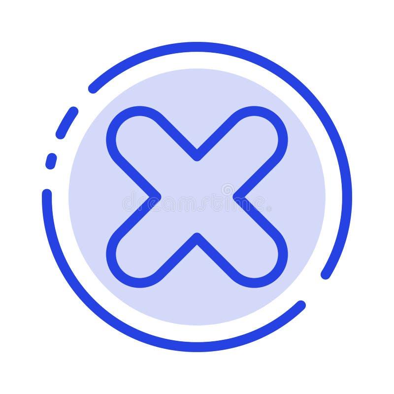 Borttagnings annullering, slut, arg blå prickig linje linje symbol vektor illustrationer