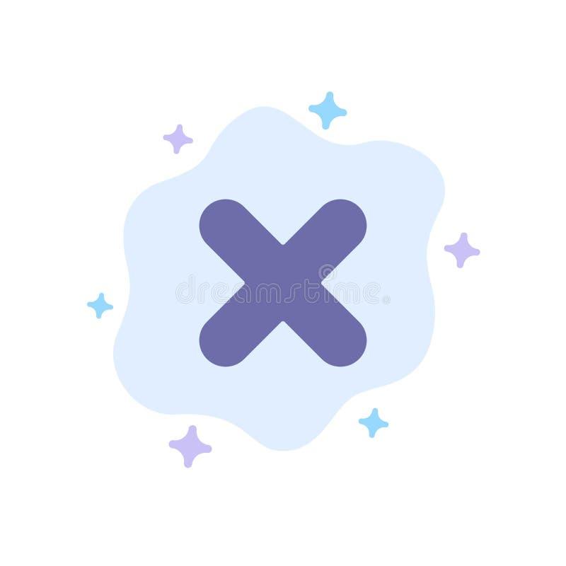 Borttagnings annullering, slut, arg blå symbol på abstrakt molnbakgrund stock illustrationer