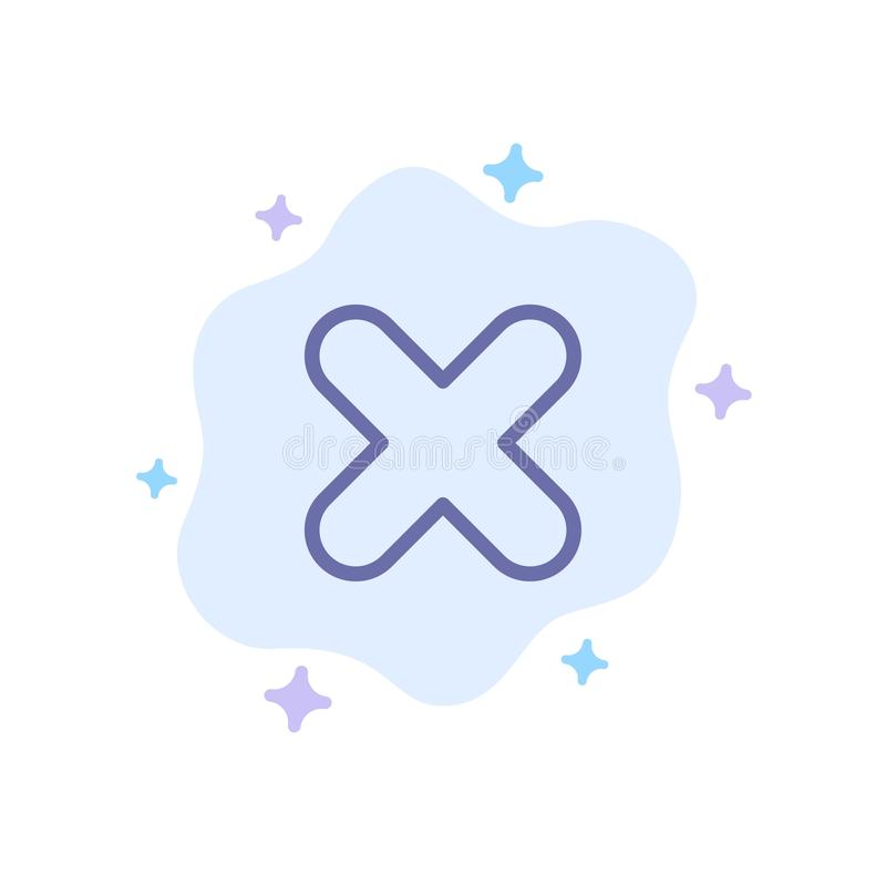 Borttagnings annullering, slut, arg blå symbol på abstrakt molnbakgrund vektor illustrationer