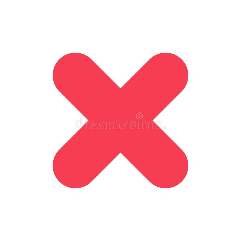 Borttagnings annullering, slut, arg plan färgsymbol Mall för vektorsymbolsbaner stock illustrationer
