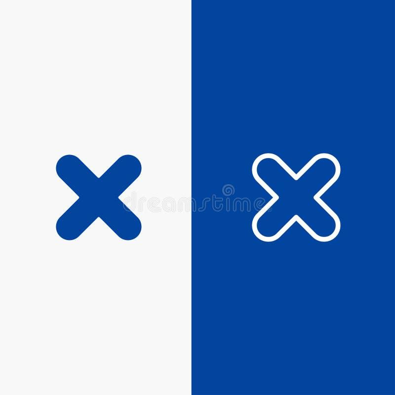 Borttagnings, annullering, slut, baner för blå för baner för arg symbol för linje och för skåra fast blått symbol för linje och f vektor illustrationer